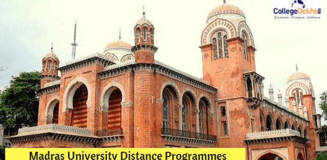 Madras University Distance Programmes Admission 2019: Important Dates