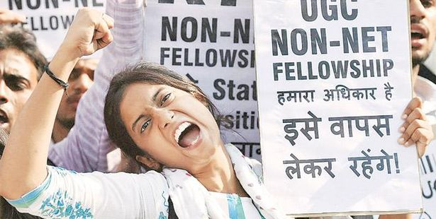 Students Protest at MLSU Against UGC's Move to End 'Non-NET' Fellowships